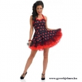 50-es évek fekete piros pöttyös pin-up ruha